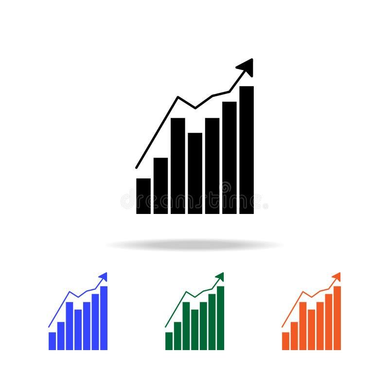 Het pictogram van de de groeigrafiek Elementen van eenvoudig Webpictogram in multikleur Grafisch het ontwerppictogram van de prem royalty-vrije illustratie