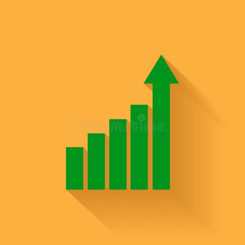 Het pictogram van de de groeigrafiek Het kweken van diagram vlakke vectorillustratie met lange schaduw Bedrijfs concept vector illustratie