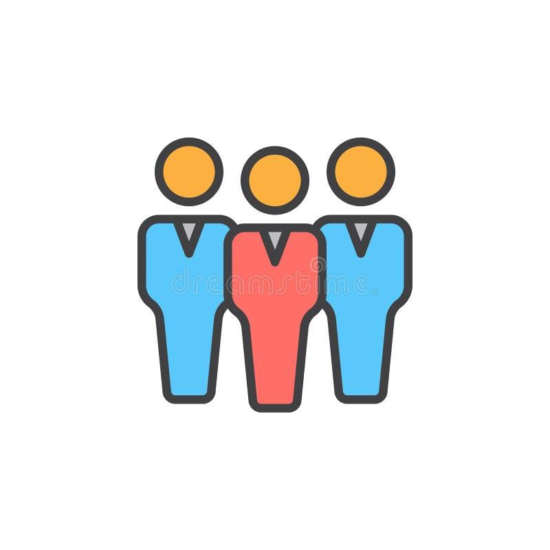 Het pictogram van de groeps mensen lijn, gevuld overzichts vectorteken, lineair kleurrijk die pictogram op wit wordt geïsoleerd royalty-vrije illustratie