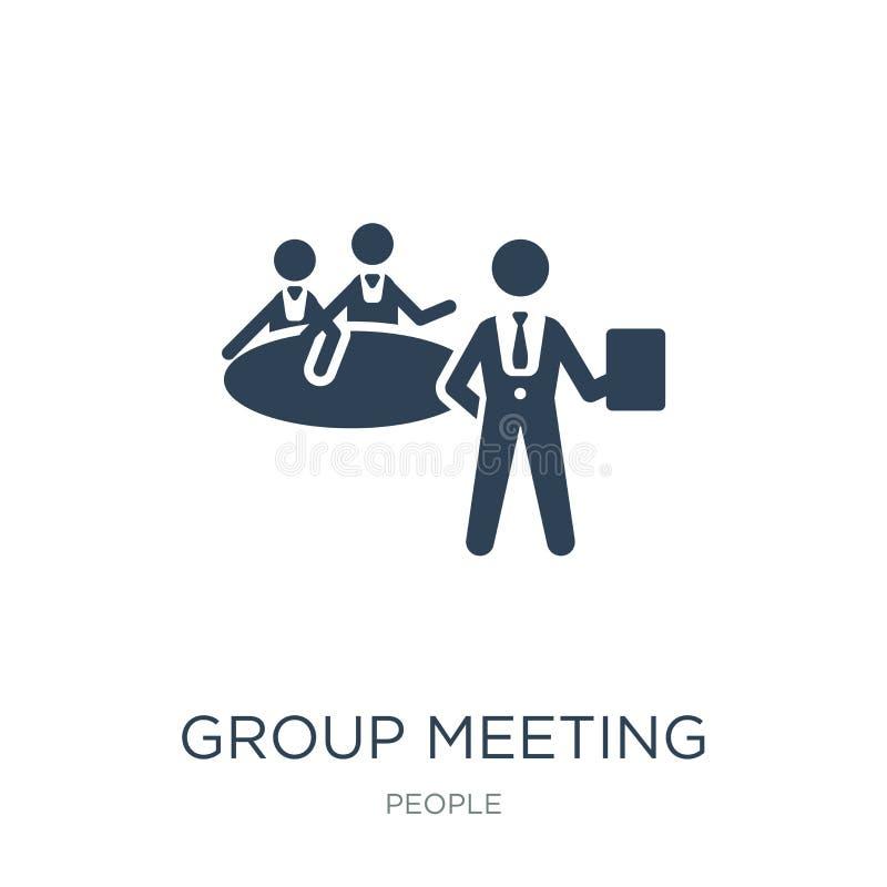 het pictogram van de groepsvergadering in in ontwerpstijl het pictogram van de groepsvergadering op witte achtergrond wordt geïso vector illustratie