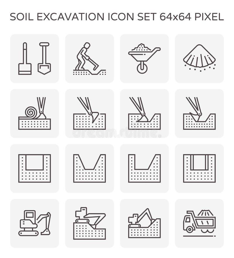 Het pictogram van de gronduitgraving stock illustratie