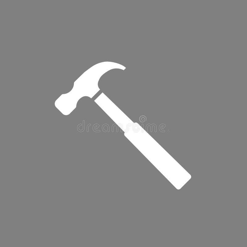 Het pictogram van de hamer Vectorillustratie, vlak ontwerp op grijze achtergrond royalty-vrije illustratie