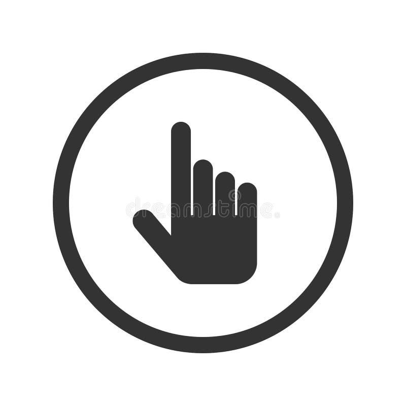 Het pictogram van de handcurseur, zwarte op witte achtergrond, vectorillustratie wordt geïsoleerd die royalty-vrije illustratie