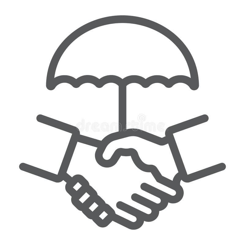 Het pictogram van de handdruklijn, privacy en vertrouwen, het teken van het veiligheidsverdrag, vectorafbeeldingen, een lineair p stock illustratie