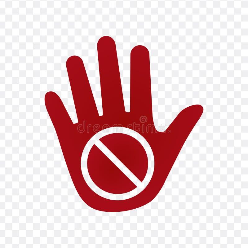 Het pictogram van de handwaarschuwing, vectordieillustratie op transparante achtergrond wordt geïsoleerd royalty-vrije illustratie