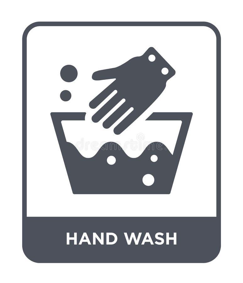 het pictogram van de handwas in in ontwerpstijl Het pictogram van de handwas op witte achtergrond wordt geïsoleerd die vector het royalty-vrije illustratie