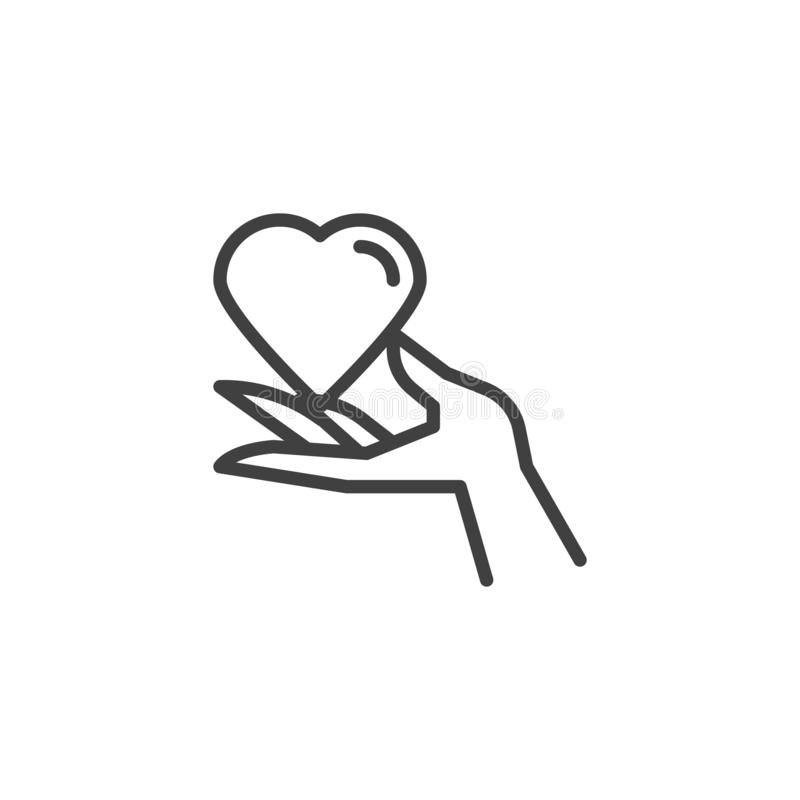 Het pictogram van de het hartlijn van de handholding royalty-vrije illustratie