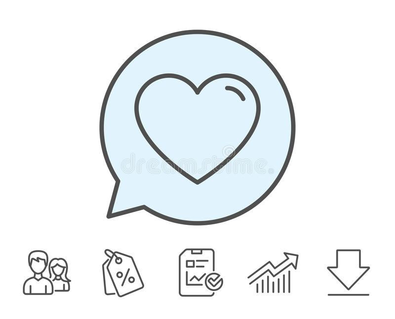 Het pictogram van de hartlijn Het teken van de liefde royalty-vrije illustratie