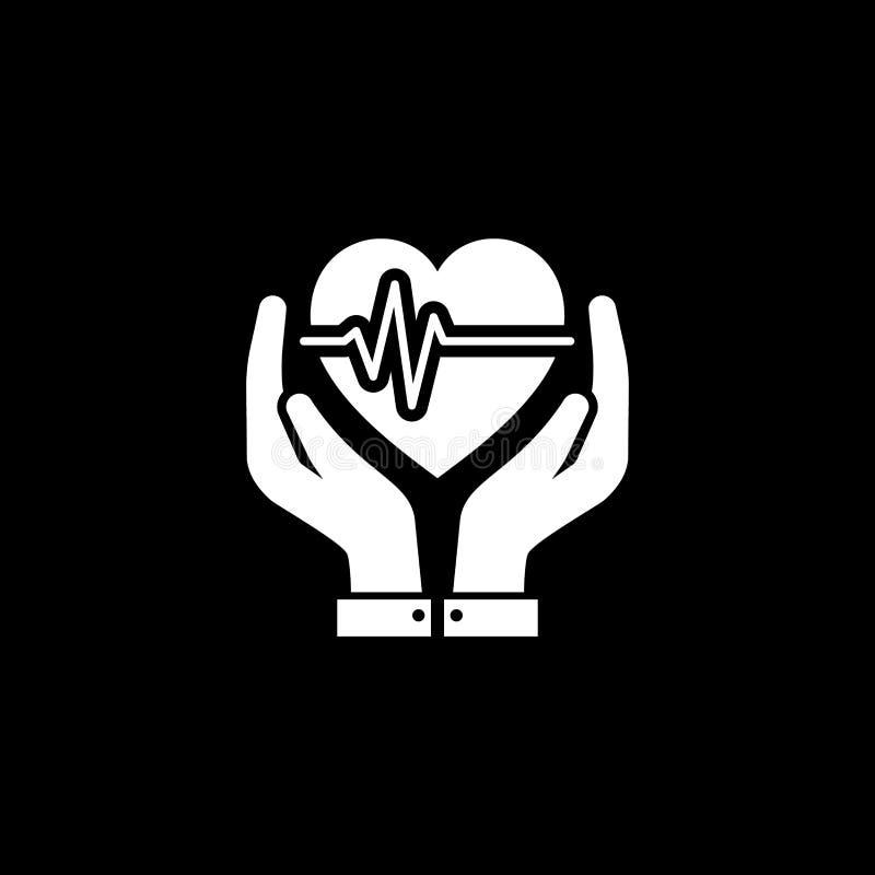 Het pictogram van de hartzorg Vlak Ontwerp stock illustratie