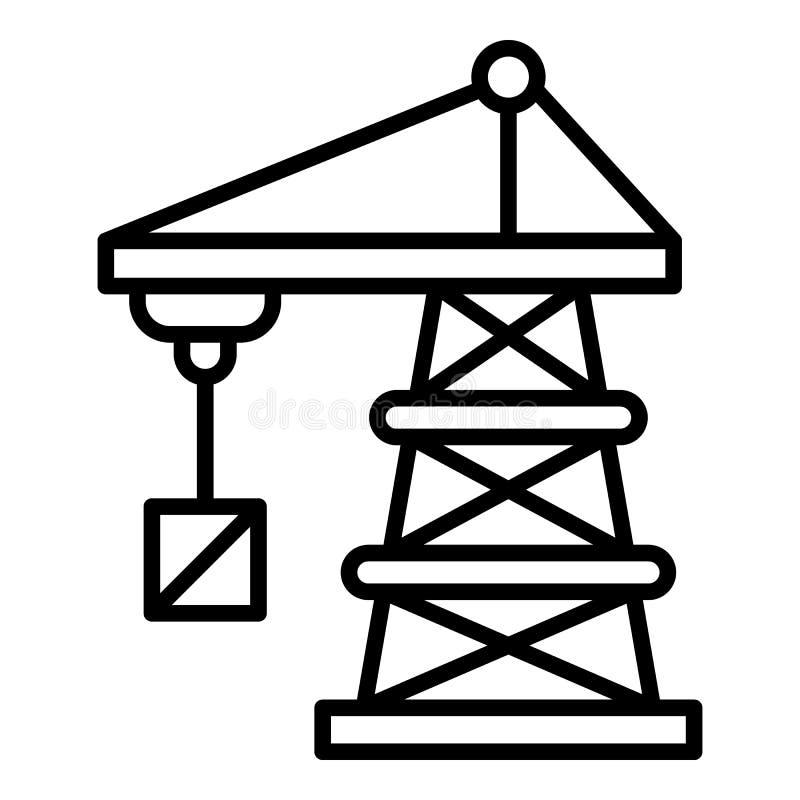 Het pictogram van de havenkraan, overzichtsstijl royalty-vrije illustratie