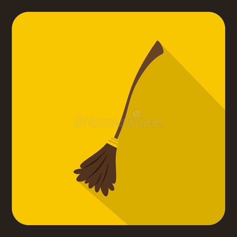 Het pictogram van de heksenbezem, vlakke stijl stock illustratie