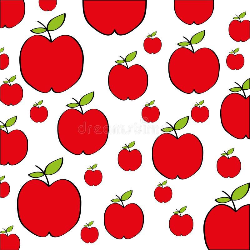 Het pictogram van de het verse fruittekening van het appelenpatroon royalty-vrije illustratie