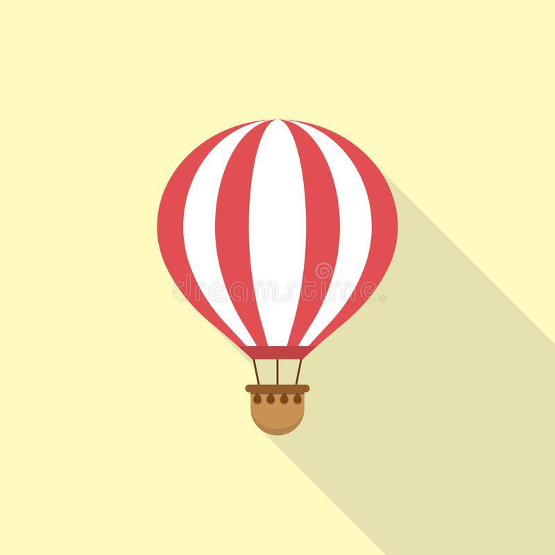 Het pictogram van de hete luchtballon in een vlak ontwerp Vector illustratie stock illustratie