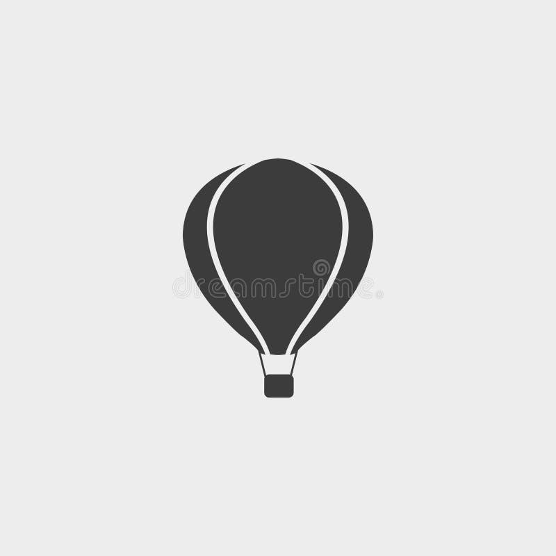Het pictogram van de hete luchtballon in een vlak ontwerp in zwarte kleur Vector illustratie EPS10 vector illustratie
