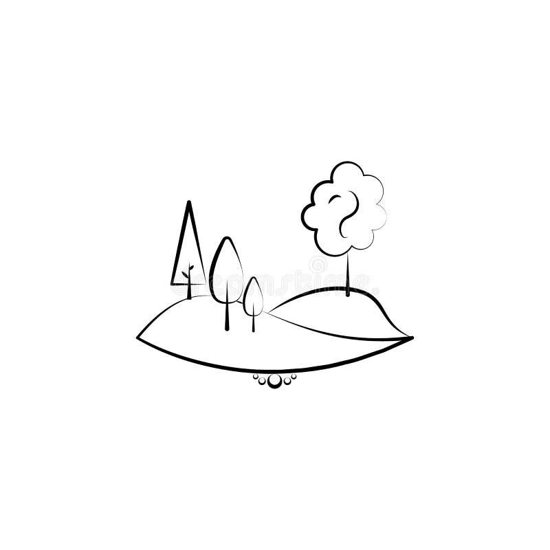 het pictogram van de heuvelboom Element van landschapspictogram voor mobiel concept en Web apps Kan het hand getrokken pictogram  royalty-vrije illustratie
