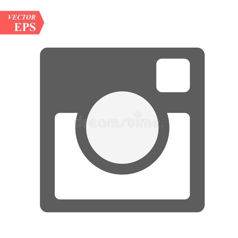 Het pictogram van de Hipsterfoto Het teken van de fotocamera op een witte achtergrond Het pictogram van de fotocamera Zwarte acht vector illustratie
