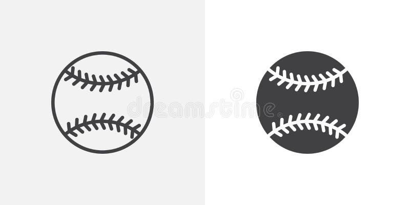 Het pictogram van de honkbalbal royalty-vrije illustratie