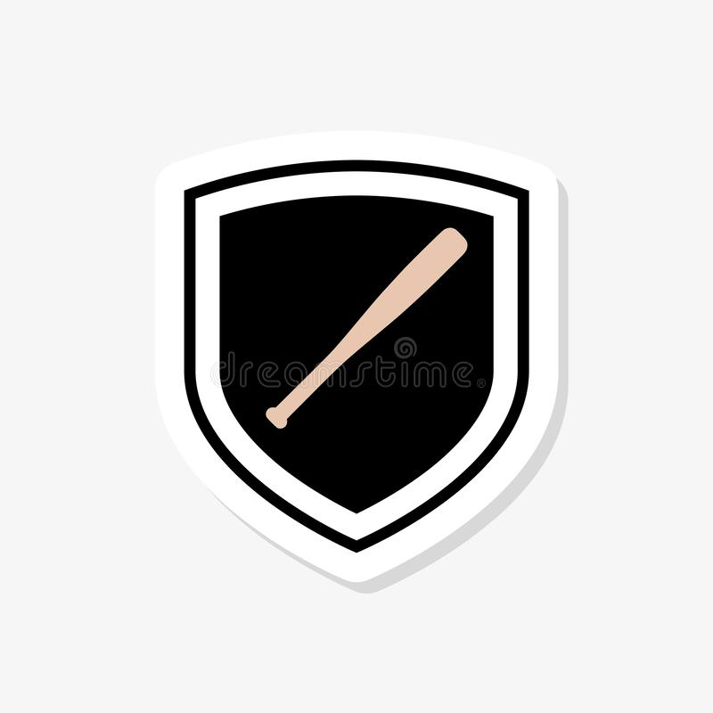 Het pictogram van de honkbalsticker in in ontwerpstijl honkbalpictogram op witte achtergrond wordt ge?soleerd die stock illustratie