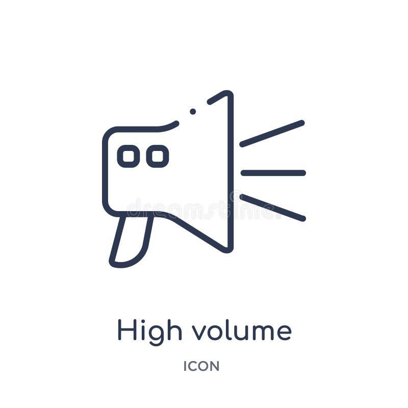 het pictogram van de hoog volumeluidspreker van de inzameling van het gebruikersinterfaceoverzicht Dun de luidsprekerspictogram v stock illustratie