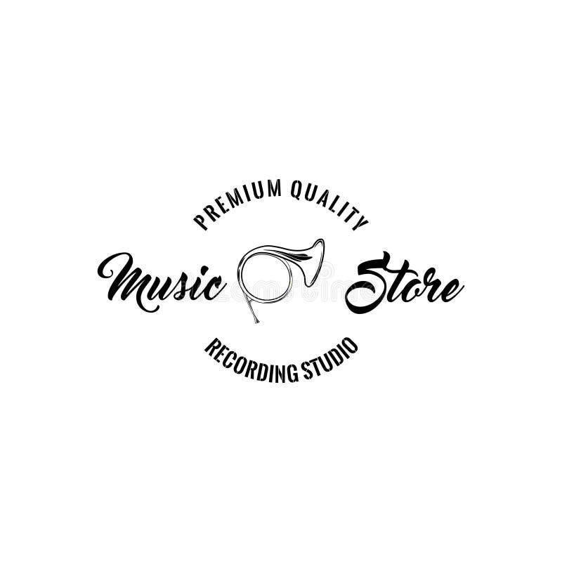 Het pictogram van de hoorntrompet Het embleemetiket van de muziekopslag Het embleem van de muziekwinkel Premiekwaliteit het Van l stock illustratie