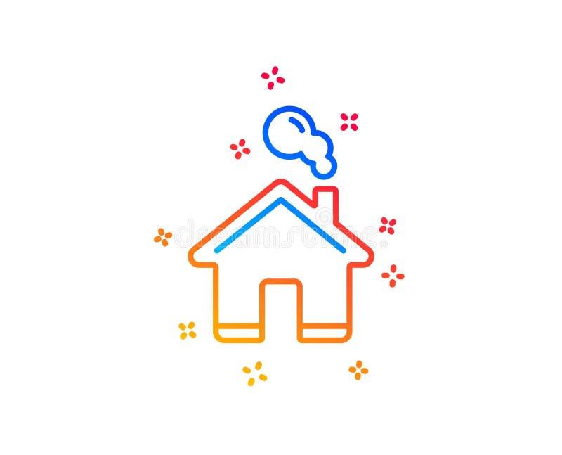 Het pictogram van de huislijn Eenvoudig gestileerd pictogram van plattelandshuisje Vector vector illustratie