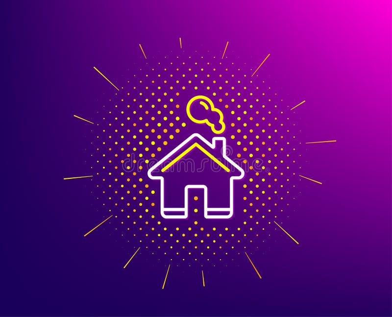 Het pictogram van de huislijn Eenvoudig gestileerd pictogram van plattelandshuisje Vector royalty-vrije illustratie