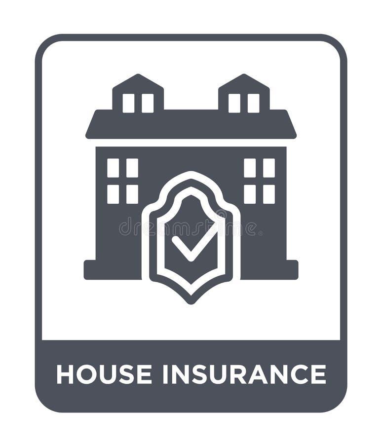 het pictogram van de huisverzekering in in ontwerpstijl het pictogram van de huisverzekering op witte achtergrond wordt geïsoleer vector illustratie