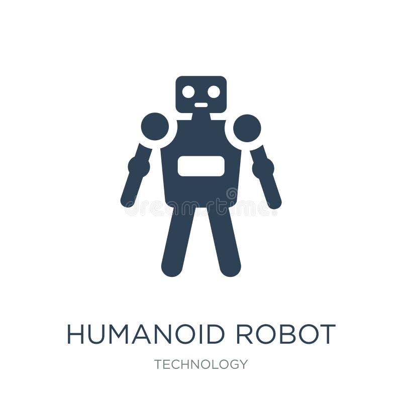 het pictogram van de humanoidrobot in in ontwerpstijl het pictogram van de humanoidrobot op witte achtergrond wordt geïsoleerd di royalty-vrije illustratie