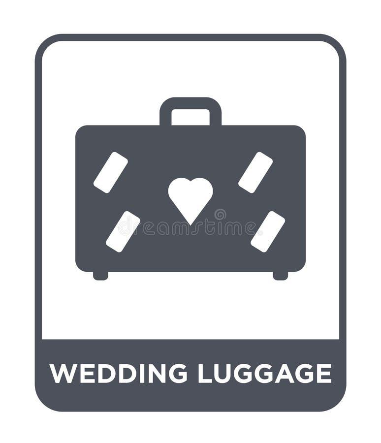 het pictogram van de huwelijksbagage in in ontwerpstijl het pictogram van de huwelijksbagage op witte achtergrond wordt geïsoleer stock illustratie
