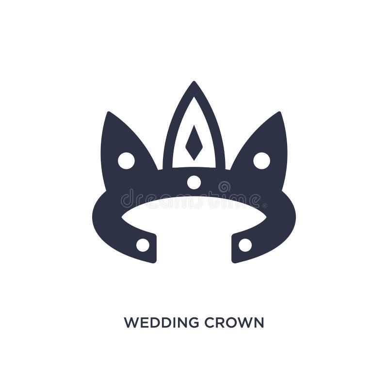 het pictogram van de huwelijkskroon op witte achtergrond Eenvoudige elementenillustratie van verjaardagspartij en huwelijksconcep stock illustratie