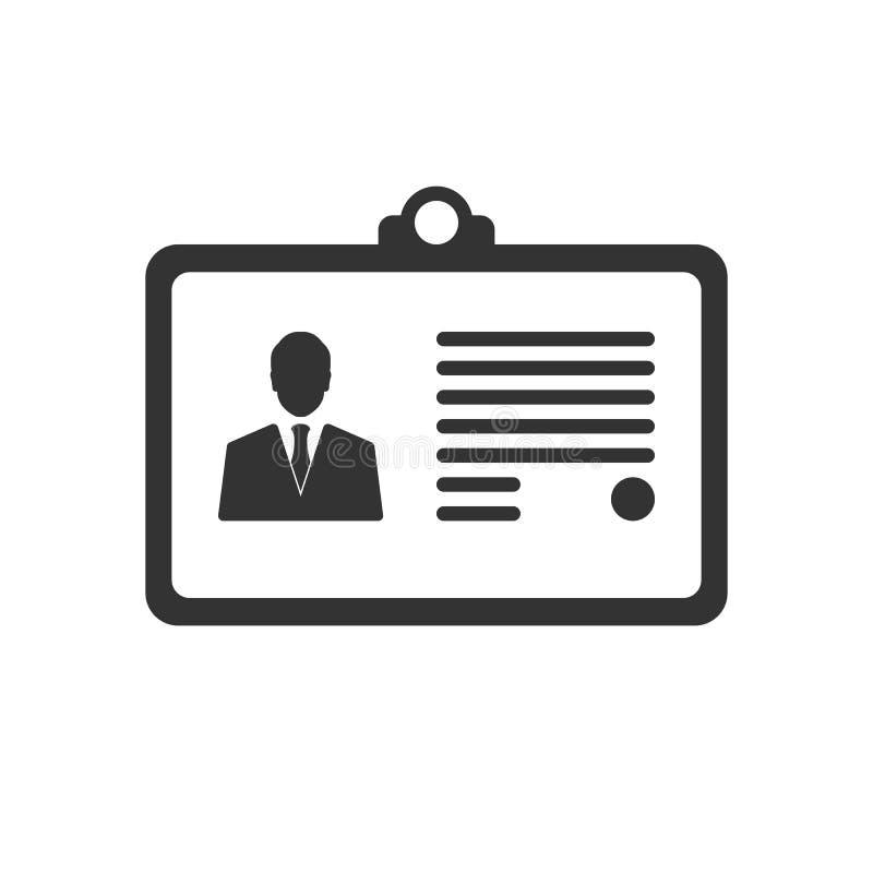 Het pictogram van de identificatiekaart op wit wordt geïsoleerd dat vector illustratie