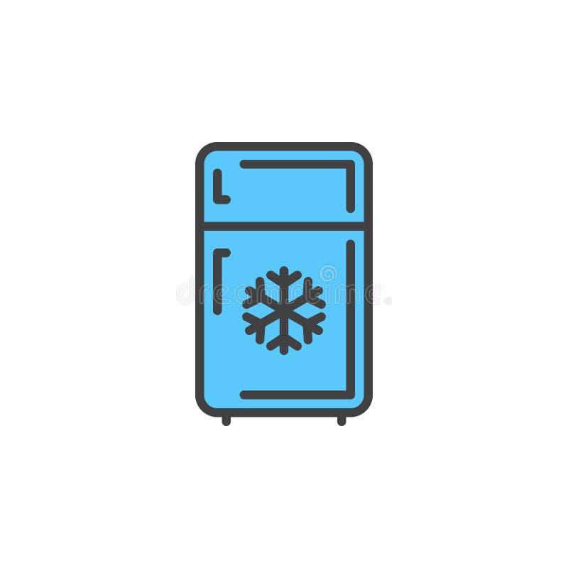 Het pictogram van de ijskastlijn, gevuld overzichts vectorteken, lineair kleurrijk die pictogram op wit wordt geïsoleerd vector illustratie