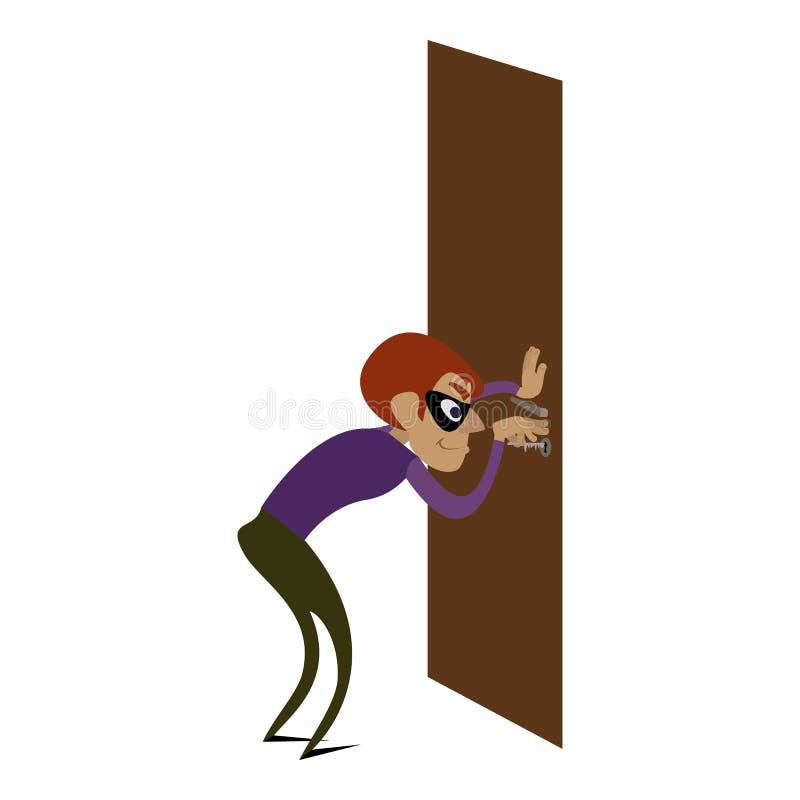 Het pictogram van de inbrekerdeur, beeldverhaalstijl vector illustratie