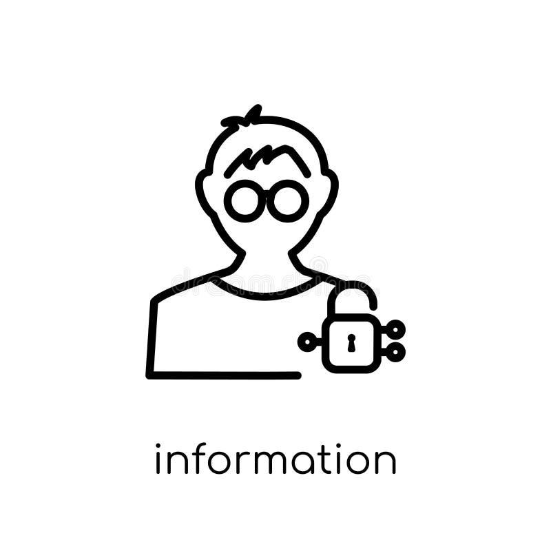 Het pictogram van de Informatiebeveiligingsanalist In moderne vlakke lineaire vec stock illustratie