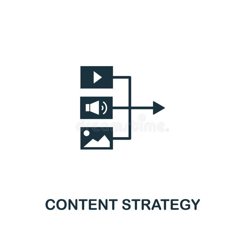 Het pictogram van de inhoudsstrategie Creatief elementenontwerp van de inzameling van inhoudspictogrammen De Strategiepictogram v royalty-vrije illustratie