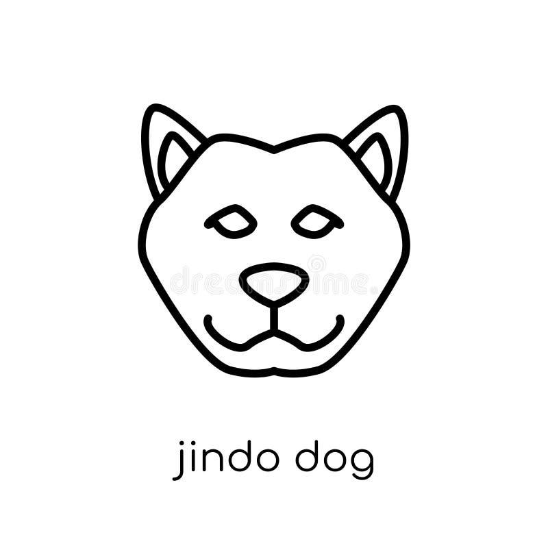 Het pictogram van de Jindohond In modern vlak lineair vectorjindo-hondpictogram stock illustratie