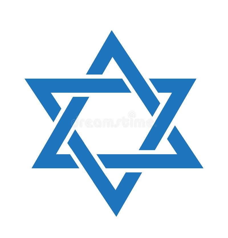 Het pictogram van de jodenster Jodenster vlakke stijl Jodenster op witte achtergrond wordt geïsoleerd die Jodensterembleem Vector royalty-vrije illustratie