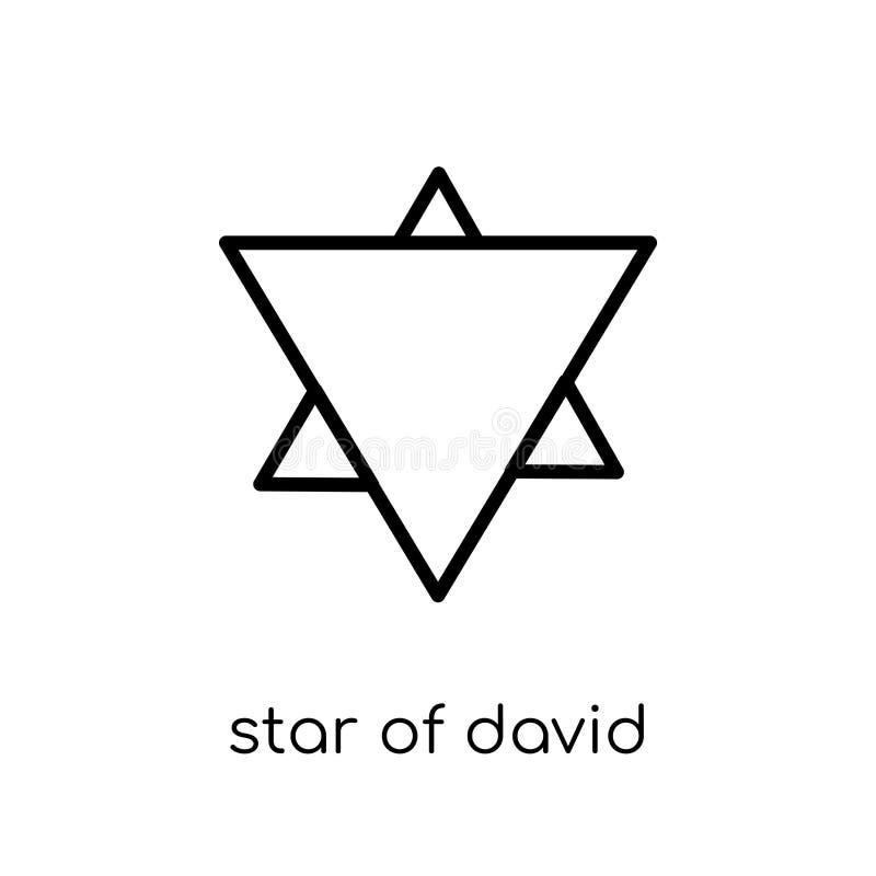 Het pictogram van de jodenster In moderne vlakke lineaire vectorster van Dav royalty-vrije illustratie