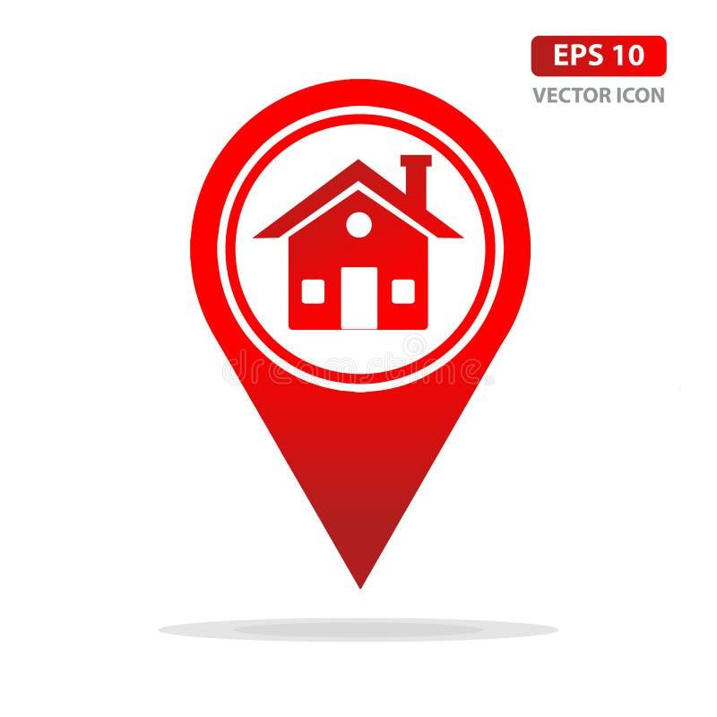 Het pictogram van de kaartwijzer met huissymbool, GPS-plaatsteken Vlakke ontwerpstijl Vector illustratie stock illustratie