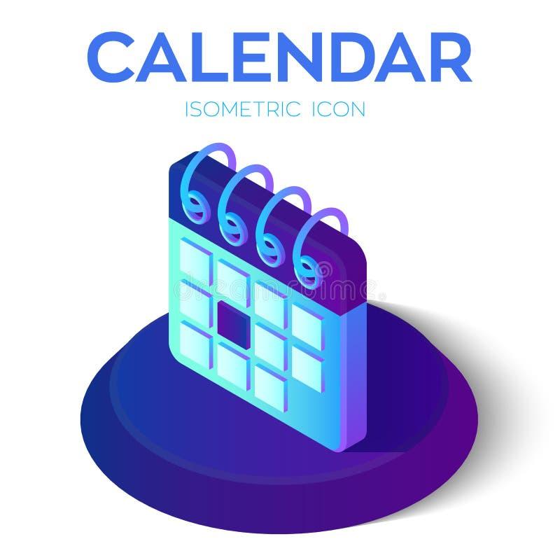 Het pictogram van de kalender 3D Isometrisch Kalenderteken Gecreeerd voor Mobiel, Web, Decor, Drukproducten, Toepassing Perfectio vector illustratie