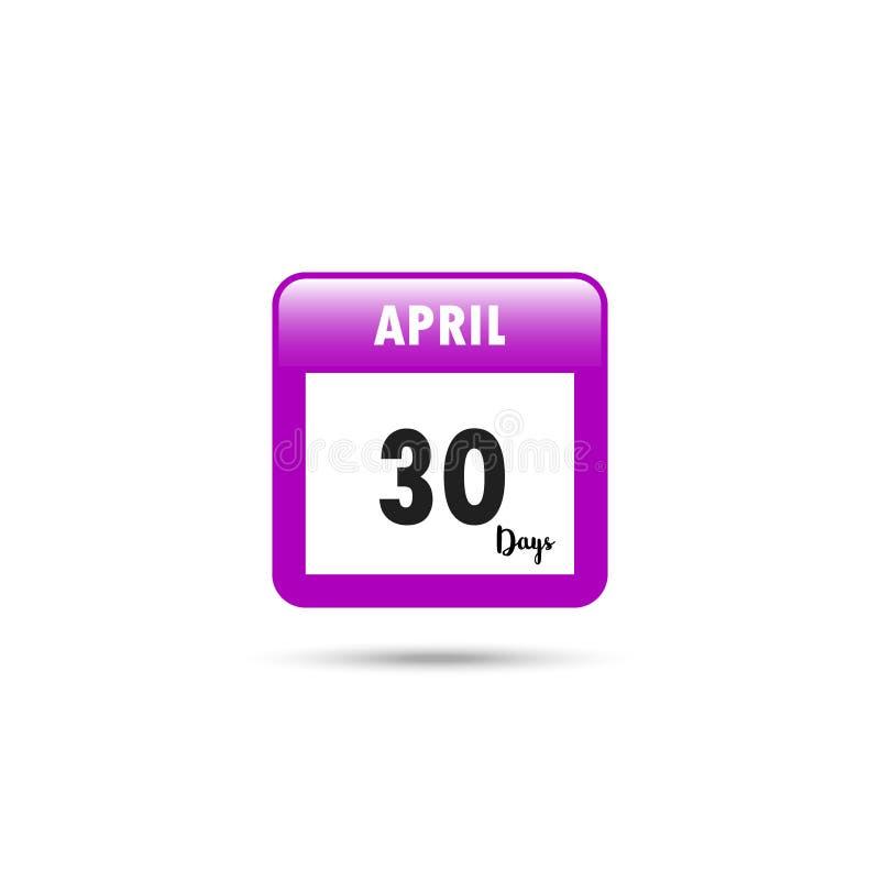 Het pictogram van de kalender Vector illustratie 30 dagen in April royalty-vrije illustratie