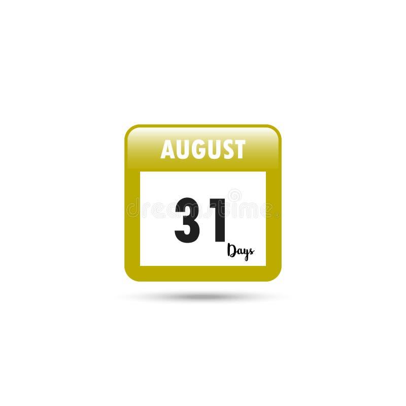Het pictogram van de kalender Vector illustratie 31 dagen in Augustus stock illustratie