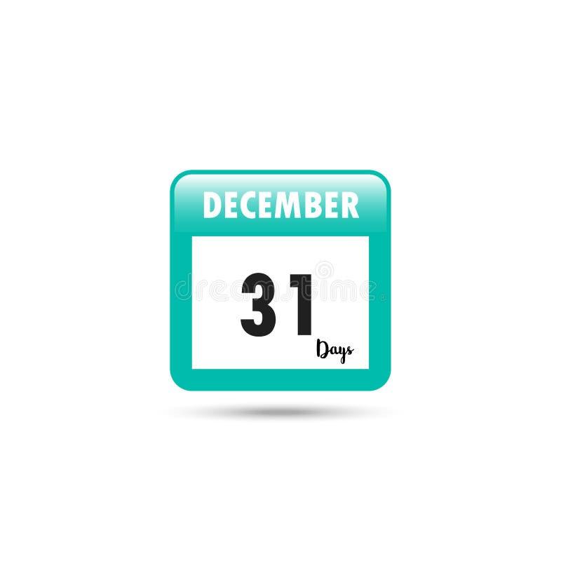 Het pictogram van de kalender Vector illustratie 31 dagen in December stock illustratie