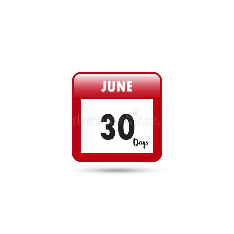Het pictogram van de kalender Vector illustratie 30 dagen in Juni royalty-vrije illustratie