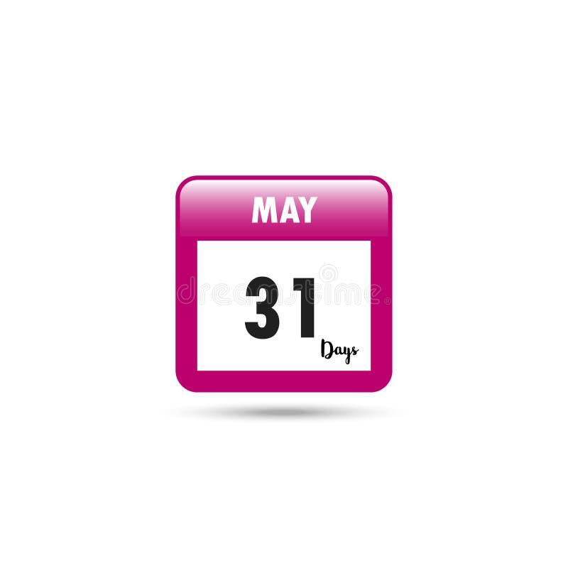 Het pictogram van de kalender Vector illustratie 31 dagen in Mei stock illustratie