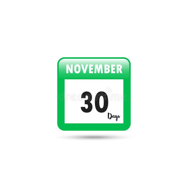 Het pictogram van de kalender Vector illustratie 30 dagen in November royalty-vrije illustratie