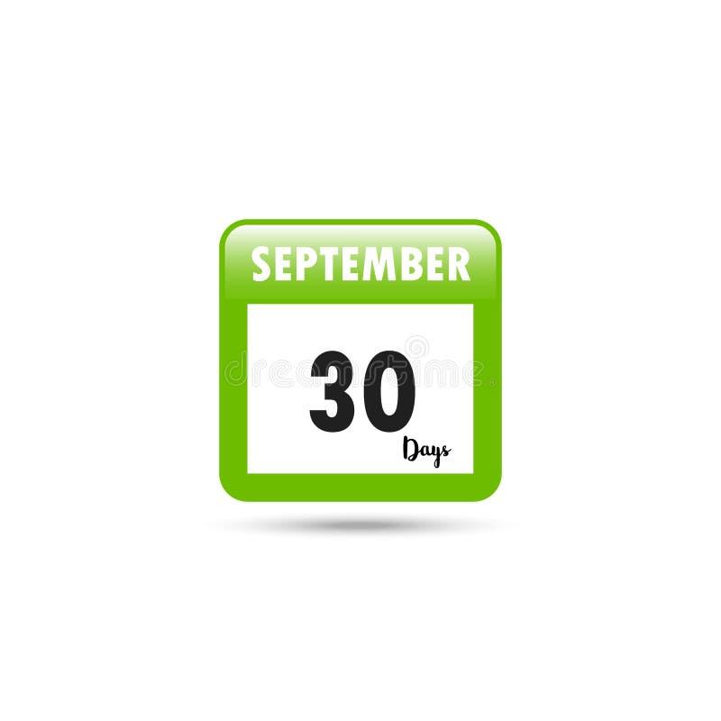 Het pictogram van de kalender Vector illustratie 30 dagen in September stock illustratie