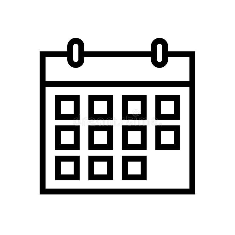 Het pictogram van de kalenderlijn stock illustratie