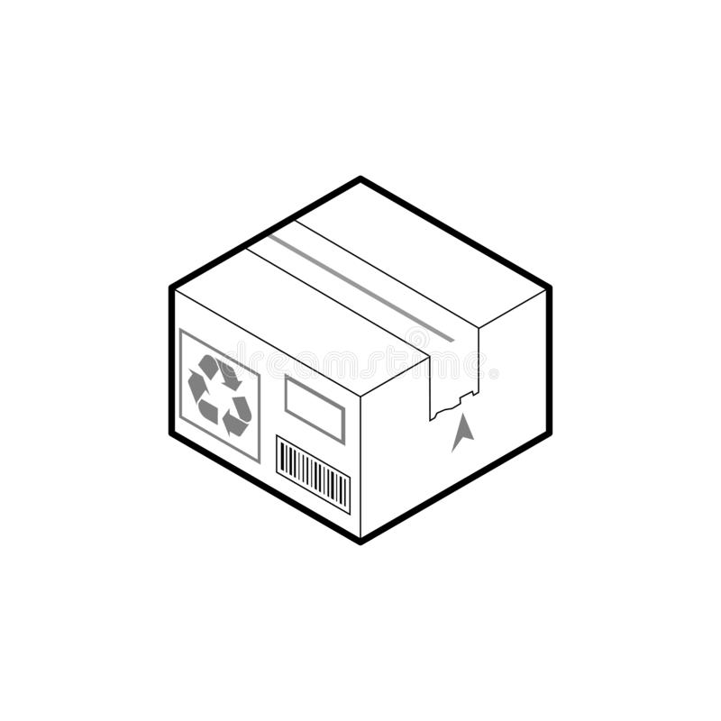 Het pictogram van de kartondoos Isometrische overzichtsvector die op witte achtergrond wordt ge?soleerd royalty-vrije illustratie