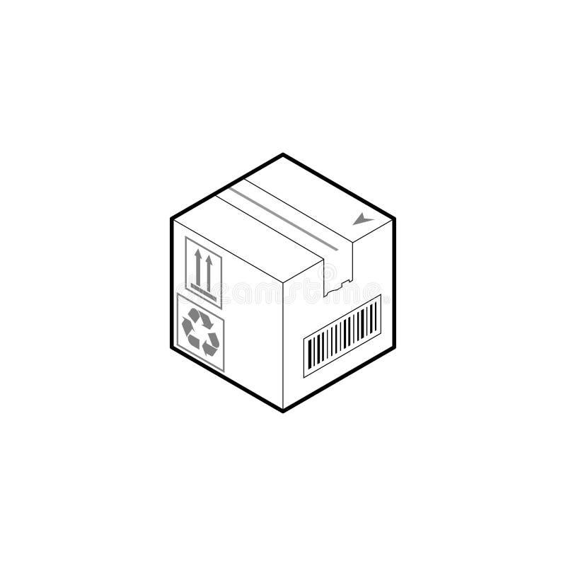 Het pictogram van de kartondoos Isometrische overzichtsvector die op witte achtergrond wordt ge?soleerd vector illustratie